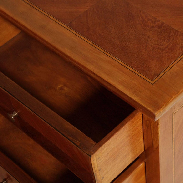 Louis XV Bovolone 1940s Side Cabinet, Nightstand, in Walnut and Walnut Inlay with Maple For Sale