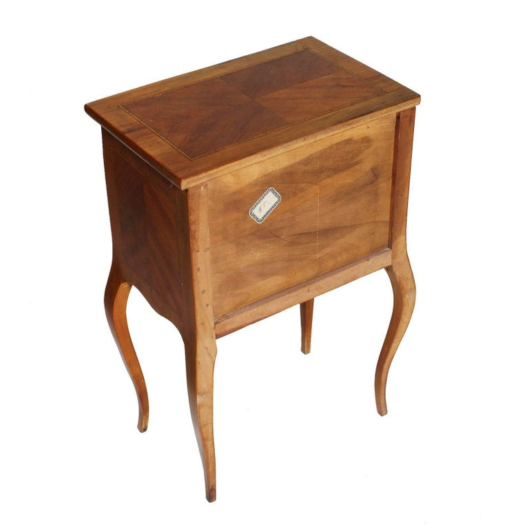Italian Bovolone 1940s Side Cabinet, Nightstand, in Walnut and Walnut Inlay with Maple For Sale