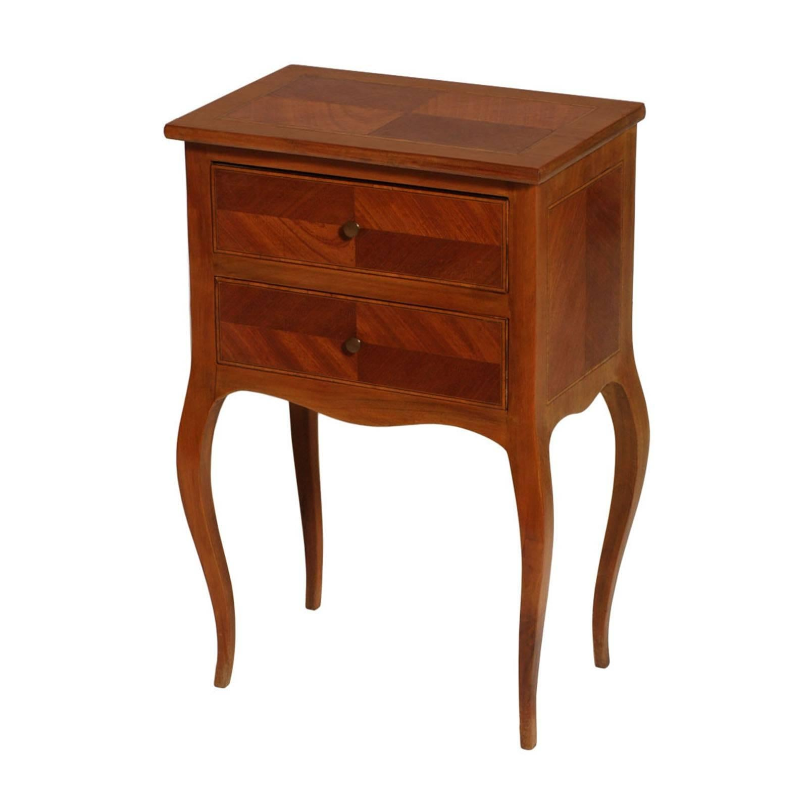 Bovolone 1920s Side Cabinet, Nightstand, in Walnut and Walnut Inlay with Maple