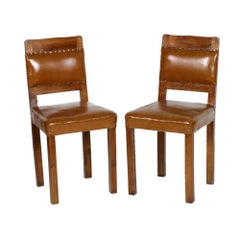 Art Deco Side Chairs, Solid Walnut with Original Leather Upholstery of the Time