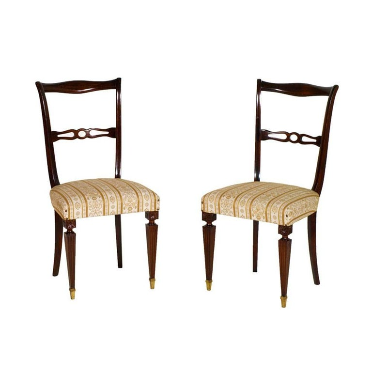 Pair of Early 20th Century Mahogany Attributed Vittorio Dassi Side Chairs