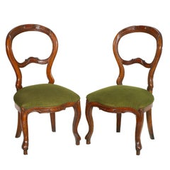 Pair of 19th Century Baroque Side Chairs, Hand-Carved Walnut, Velvet Upholstery