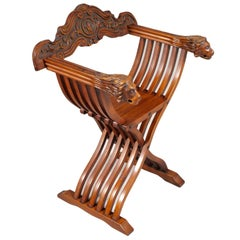 Florentine Savonarola Chair, all hand Carved Walnut Restored and Wax polished