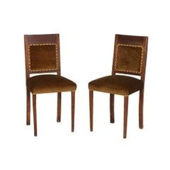 Italian Art Deco Pair of Side Chairs in Walnut, Velvet Upholstery, Restored