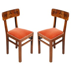 Pair of 1930s Art Deco Chairs in Walnut and Burl Walnut