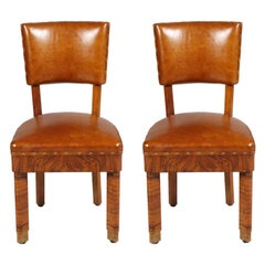 Art Deco Pair of Chairs in Burl Walnut and Leather Jules Leleu Attributed
