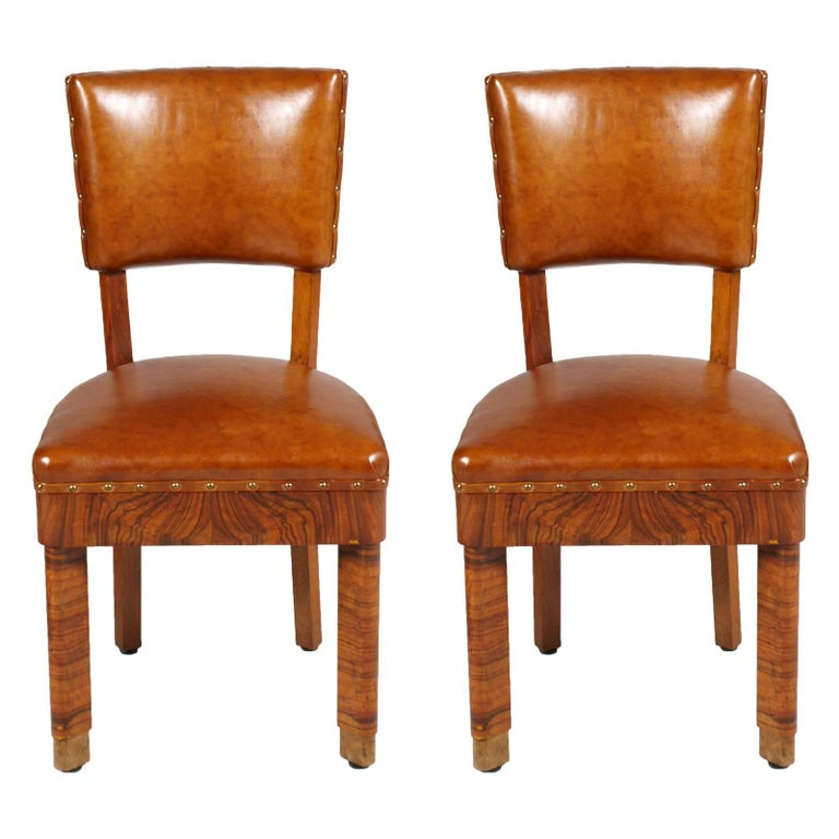 Art Deco Pair of Chairs in Burl Walnut and Leather Jules Leleu Attributed 1