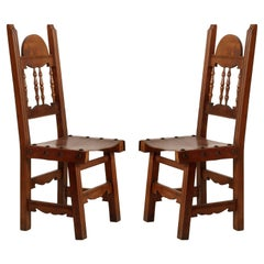 Early 20th C. Renaissance Couple Chairs in Solid Walnut and Leather , Restored