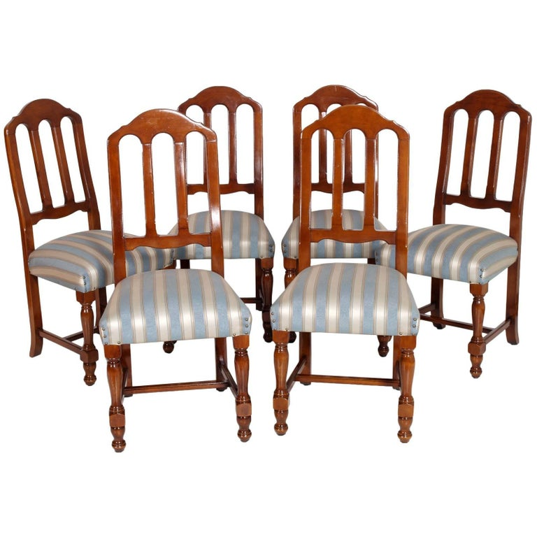 1920s Italian Six Dining Room Chairs Solid Walnut, Art Deco age, new upholstered For Sale