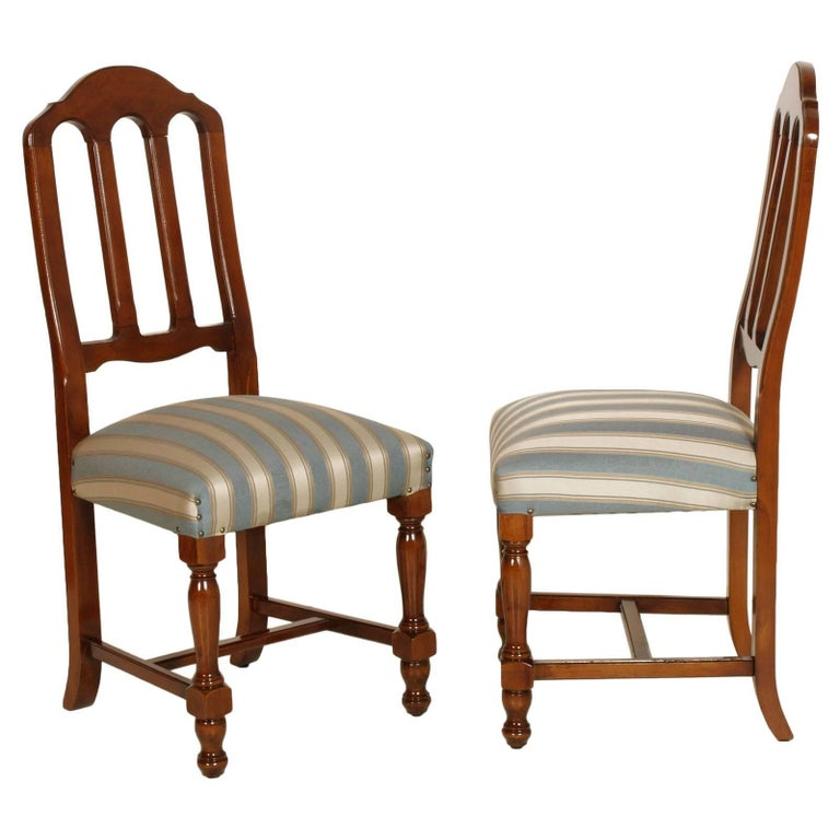 20th Century 1920s Italian Six Dining Room Chairs Solid Walnut, Art Deco age, new upholstered For Sale