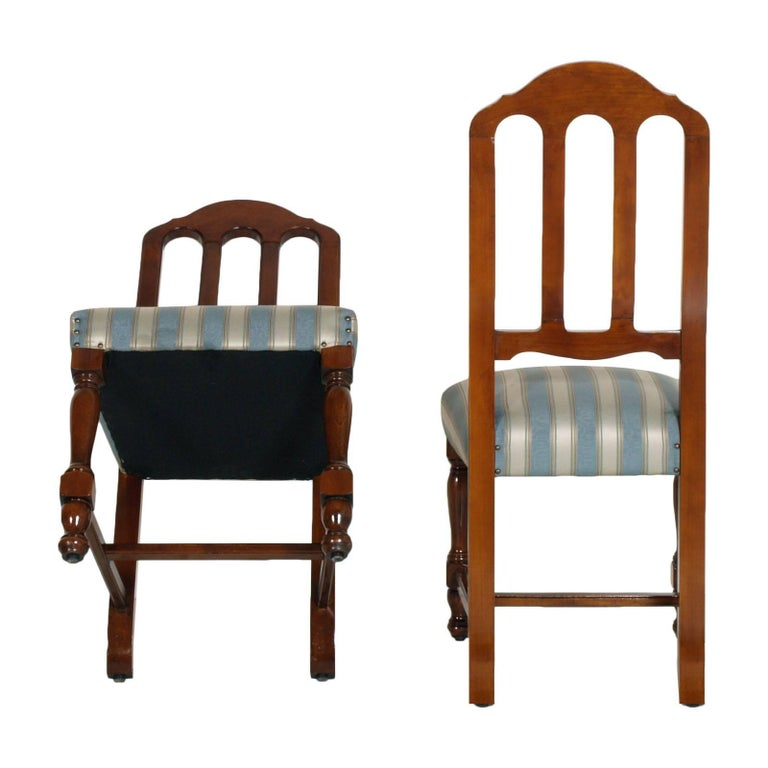 1920s Italian Six Dining Room Chairs Solid Walnut, Art Deco age, new upholstered For Sale 1