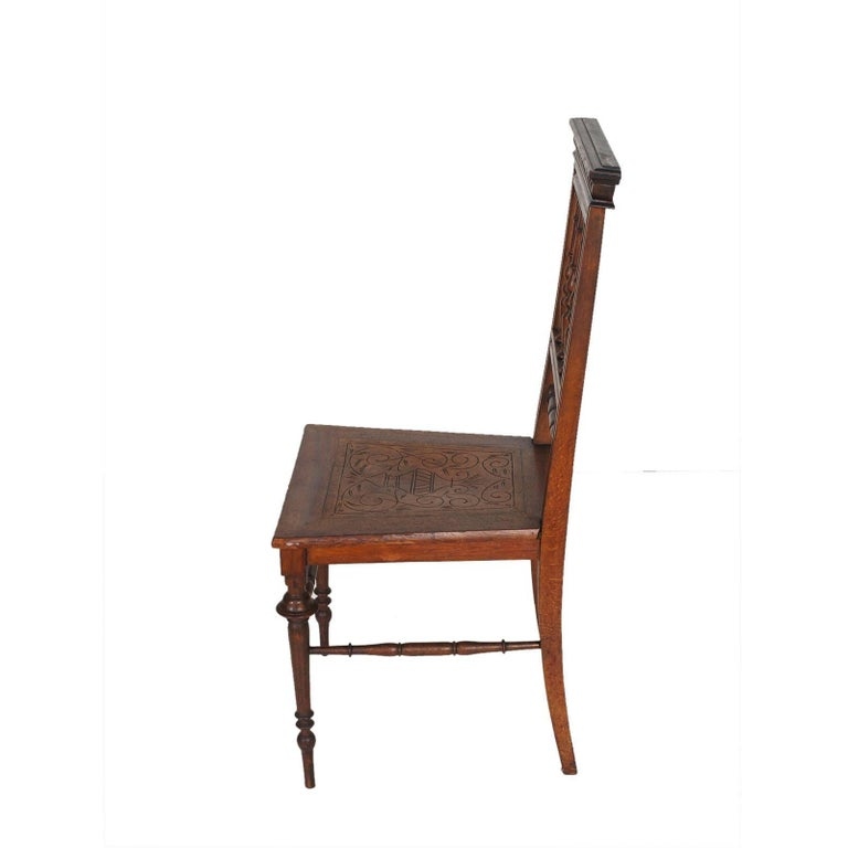 Neoclassical 19th Century Chiavarine Chairs Turned Walnut with Hand-Carved Seat For Sale