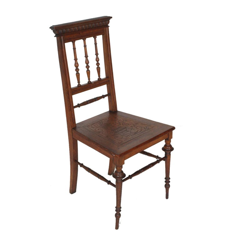 Italian 19th Century Chiavarine Chairs Turned Walnut with Hand-Carved Seat For Sale