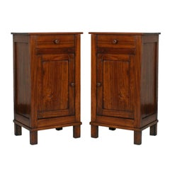 Pair of Country Nightstands in Solid Poplar Restored Polished to Wax