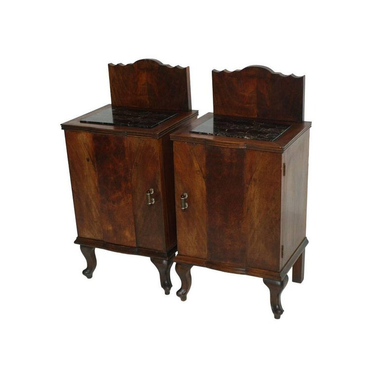 Early 19th Century Art Deco Pair Of Nightstands In Walnut With Black Marble Top For Sale At 1stdibs