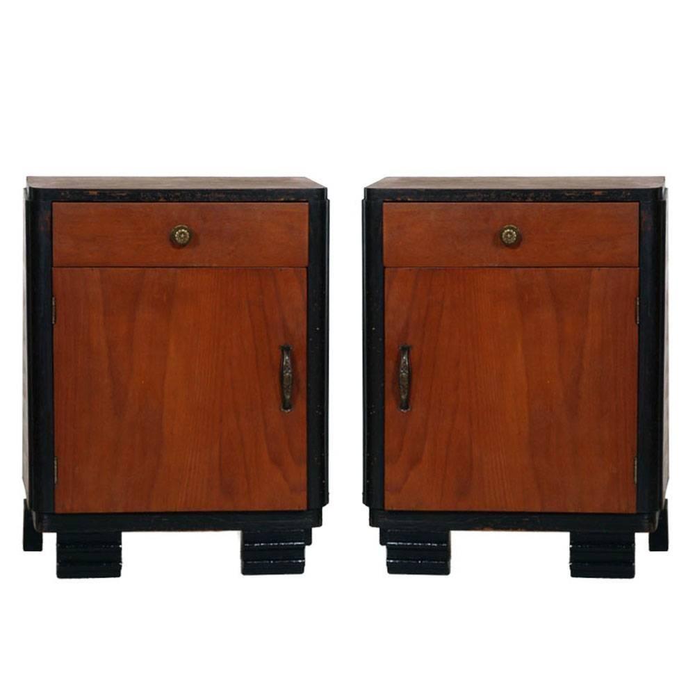 1920s Art Deco Bedside Table Nightstands, Ebonized Walnut, Walnut Slab, Restored
