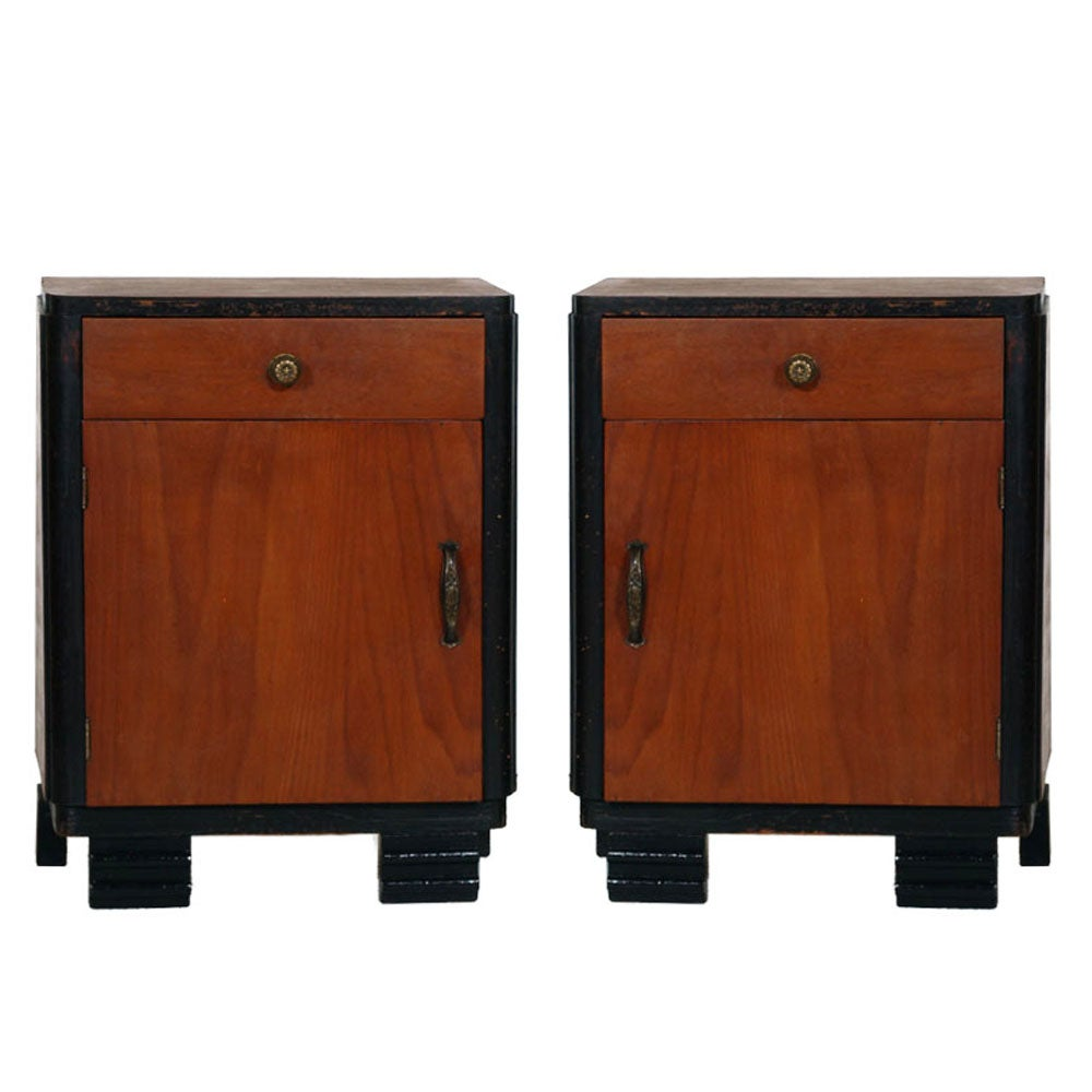 1920s Art Deco Bedside Table Nightstands, Ebonized Walnut, Walnut Slab, Restored