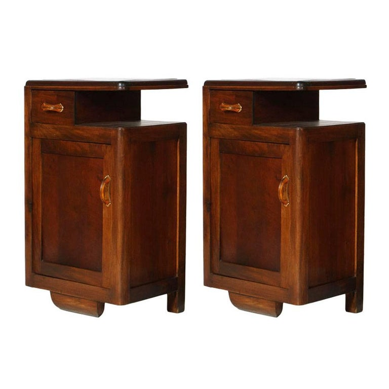 1920s Art Deco Bedside Tables Nightstands in Walnut Restored and Polished to Wax For Sale