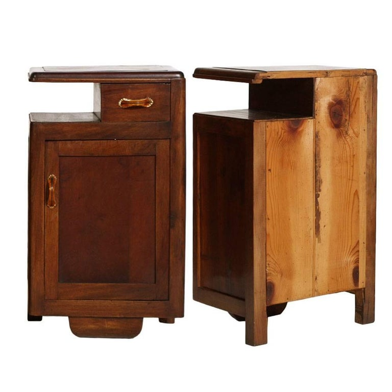 Italian 1920s Art Deco Bedside Tables Nightstands in Walnut Restored and Polished to Wax For Sale