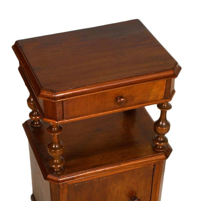 Antique mid-19th century cabinet nightstands Louis Philippe in blond walnut restored and polished to wax Measures cm: H 87, W 44, D 33.
