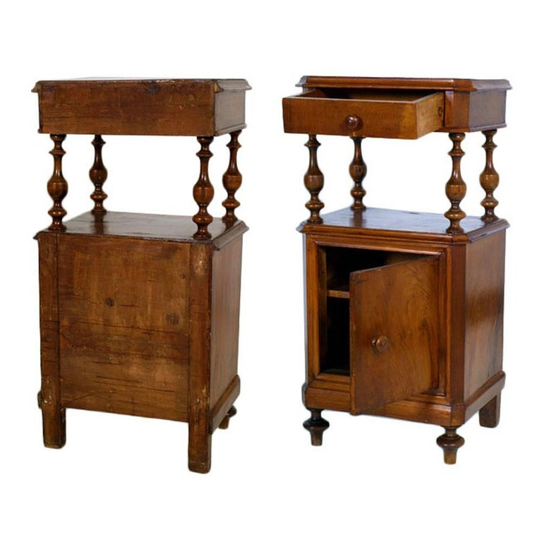 Italian Mid-19th Century Cabinet Nightstands Louis Philippe in Blond Walnut, Restored For Sale