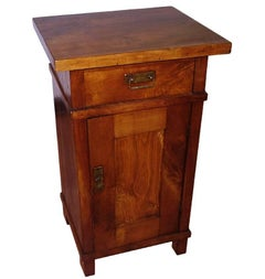 1890s Country Bedside Table Nightstand, Art Nouveau, Solid Cherrywood, Restored