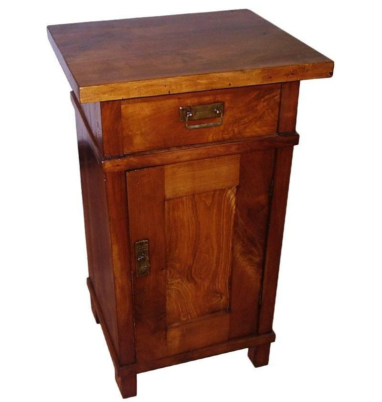 1890s Country Bedside Table Nightstand, Art Nouveau, Solid Cherrywood, Restored For Sale