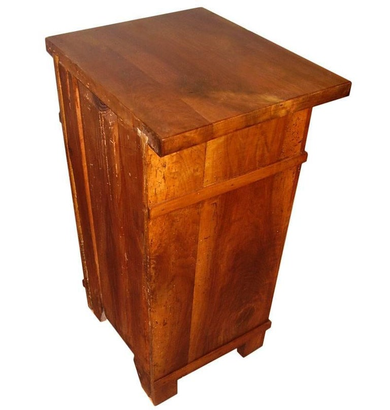 Italian 1890s Country Bedside Table Nightstand, Art Nouveau, Solid Cherrywood, Restored For Sale