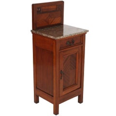 1910s Art Nouveau Nighstand in Mahogany, Marble Top, Restored Polished with Wax