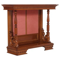 Early 20th Century Baroque Revival Console, Blond Walnut, Transparent Lacquered