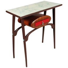 Console Mid-Century Modern Carlo Mollino Style, Wood Lacquered, Top Crystal