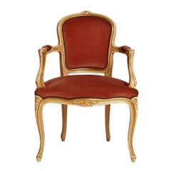 Last 19th Century Venetian Baroque Armchair in Carved Wood, Polychrome Laquered
