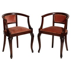 1910s Art Nouveau Pair of Pozzeto Chairs, Hand-Carved Walnut, Original Fabric
