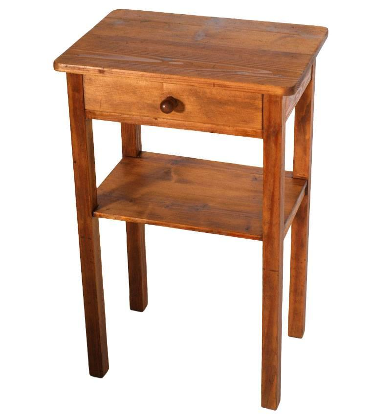 Antique Art Deco Italy Country Nightstand in Pine, Restored and Polished to Wax