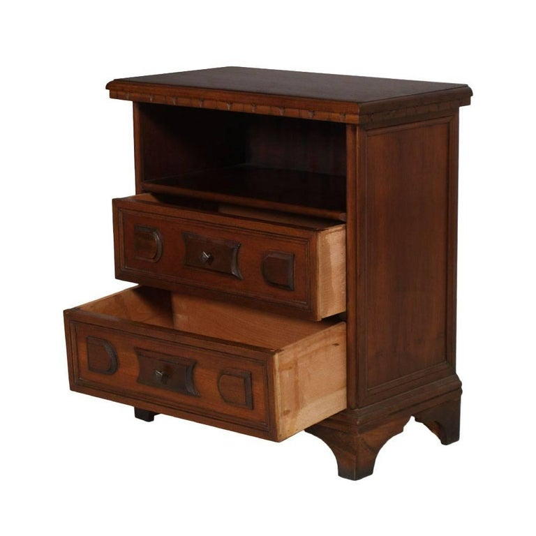 Mid-Century Modern Italian 1970s cabinet, nightstand, Renaissance style finished to wax  Measures cm: H 61 x W 55 x D 30.