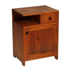 Country Nightstand Period Art Deco in Massive Larch, Restored