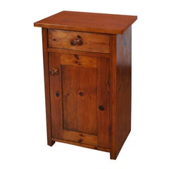 19th Century Country Rustic Nightstand Cabinet Restored Polished to Wax