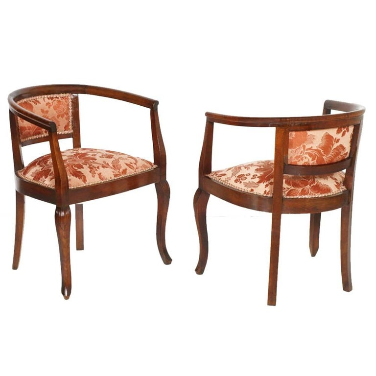 1900s Italy budoir, pair of bedroom armchairs Art Nouveau with stool in hand-carved walnut, restored and polished to wax. Made new upholstery  Measure armchairs cm: H 66\45, W 55, D 50 Measure stool cm: H 45, W 45, D 40.