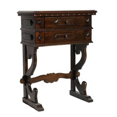 Mid-20th Century Florentine Renaissance Console Walnut Restored Finished to Wax