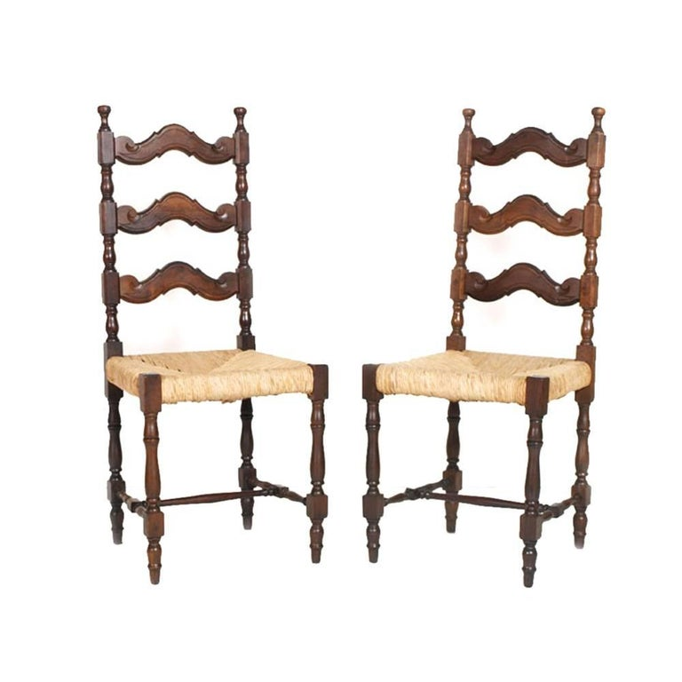 Early 20th Century Renaissance Pair of Sides Chairs, Dini & Puccini Attributed