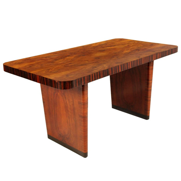 Art Deco Desk Table, Gio Ponti design attributed, Walnut and Burl Walnut Applied