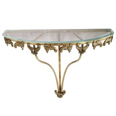 Mid-Century Modern Console in Gilt Bronze and Cristal Fontana Arte Attributable