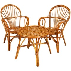 Midcentury Franco Albini Style Bamboo and Rattan Armchairs with Coffee Table