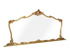 19th C. Venetian large baroque wall mirror hand carved gilt walnut gold leaf
