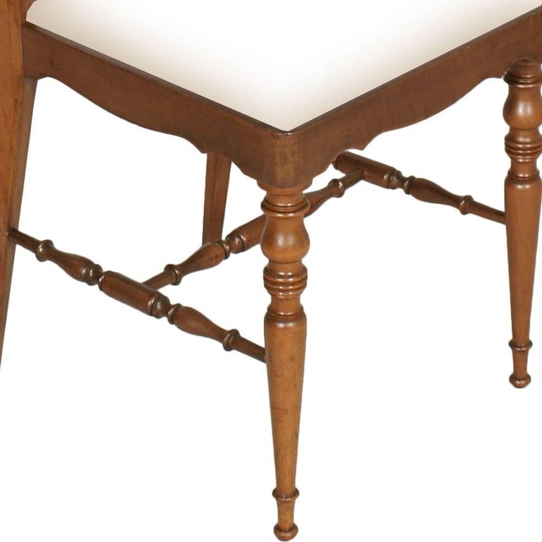 Italian Four Mid-Century Modern Dining Chiavari Chairs, Blond Walnut with New Upholstery For Sale