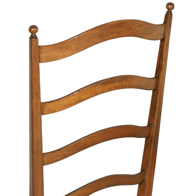 Carved Four Mid-Century Modern Dining Chiavari Chairs, Blond Walnut with New Upholstery For Sale