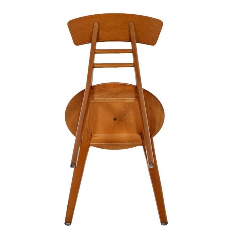 Mid century modern italian side chairs jens risom manner beechwood and rubber for sale at 1stdibs - Jens risom side chair ...