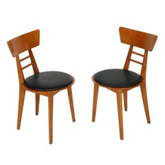 Mid-Century Modern Italian Side Chairs Jens Risom Manner Beechwood and Rubber