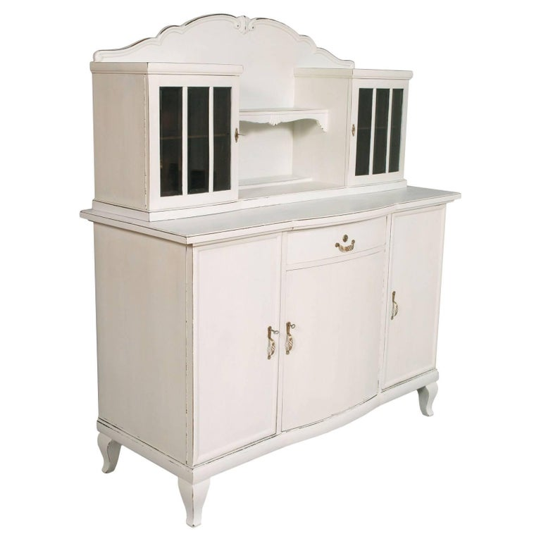 1930s Antique White Painted Dresser Drawers Credenza Art Deco Solid Oakwood For