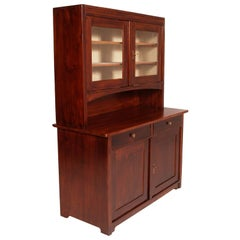 Art Deco country credenza sideboard with display cabinet, solid fir wax-polished